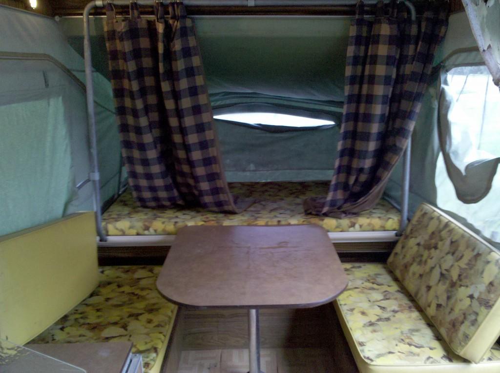 inside of a pop-up-camper