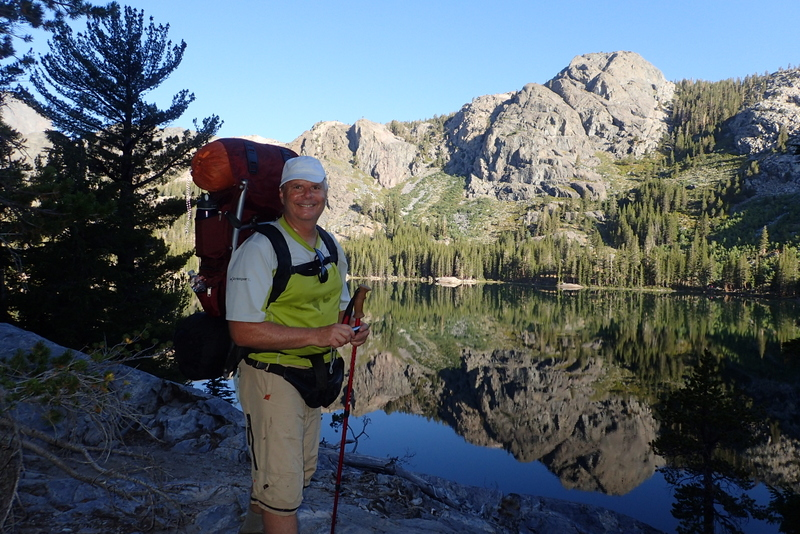 upright position with a hiking backpack