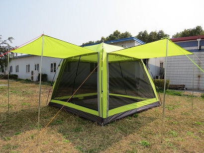 tent with clip-on awnings