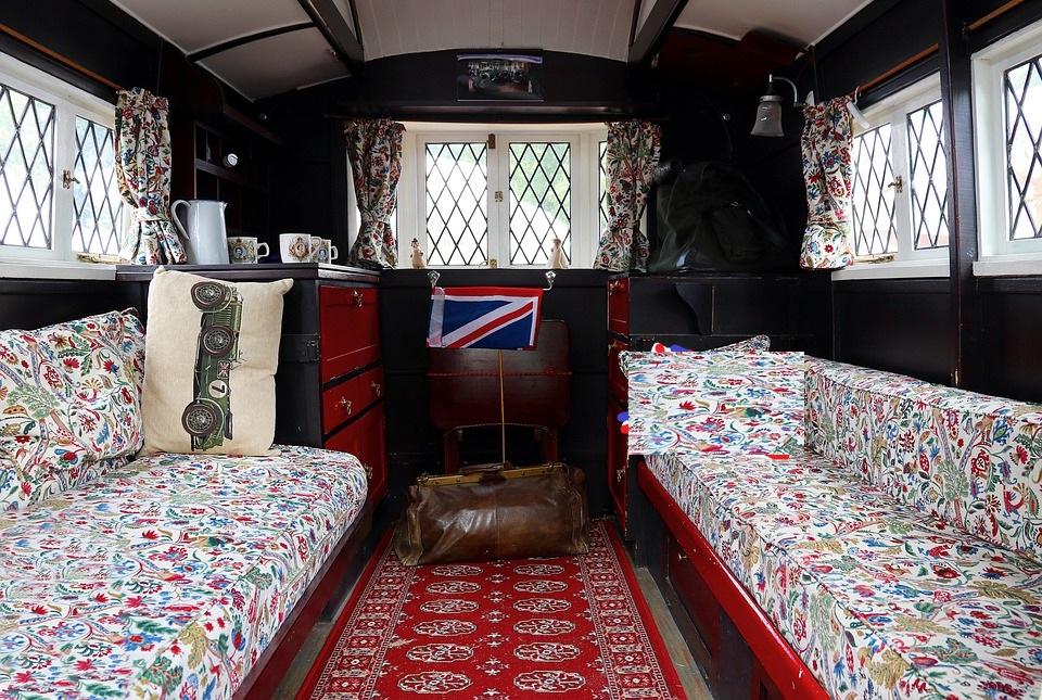 cozy interior of teardrop trailer